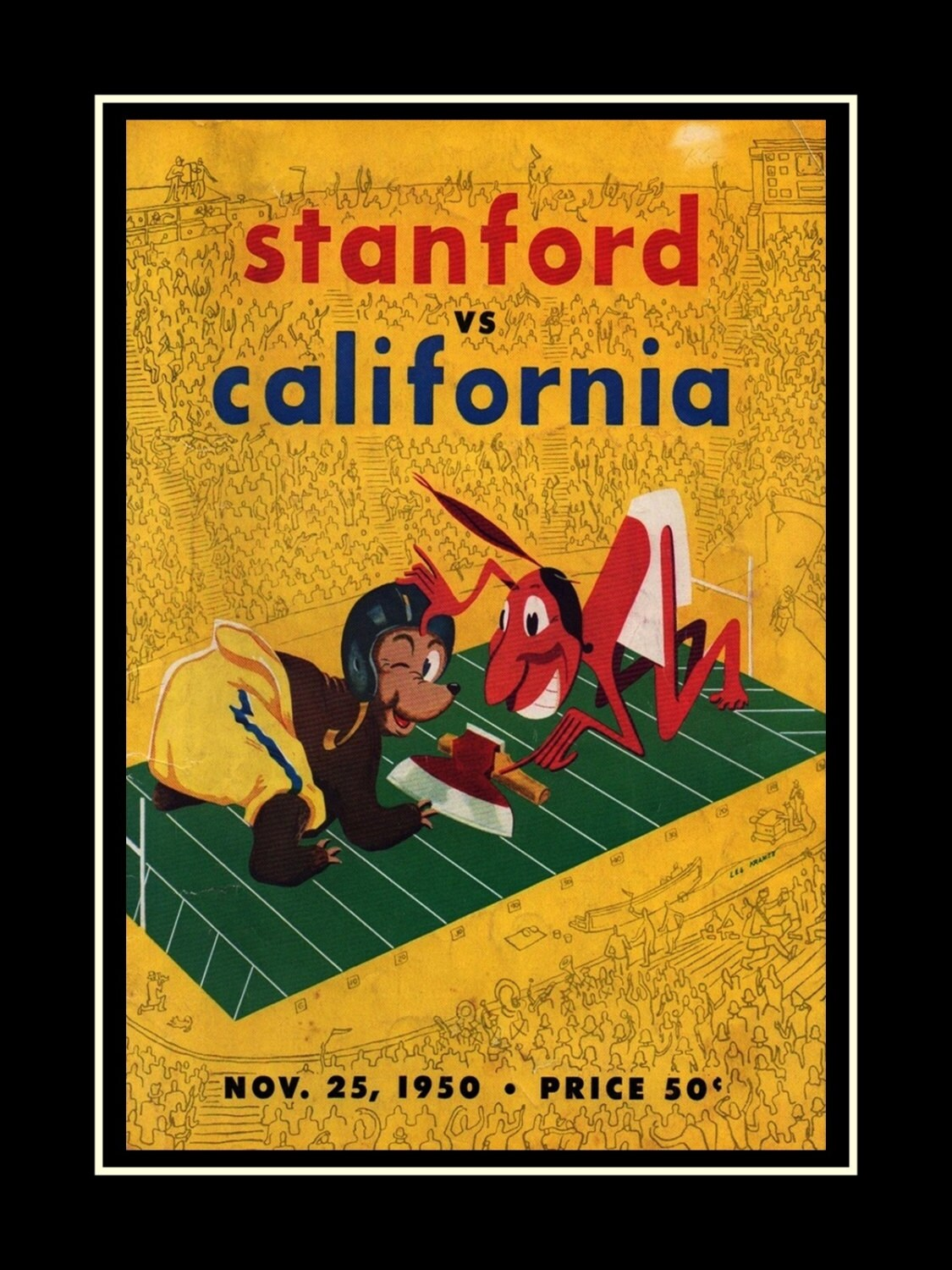 Vintage Football 1950s Souvenir Gift Poster Stanford Indians | Etsy