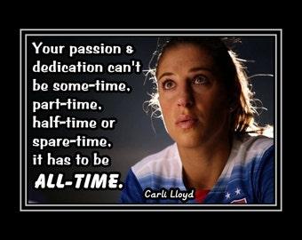 "Inspirational Soccer Champion Art Print, Photo Wall Art, Motivation Quote Wall Decor, Gift, Home Decor, , Carli Lloyd, 8x10"", 11x14"""
