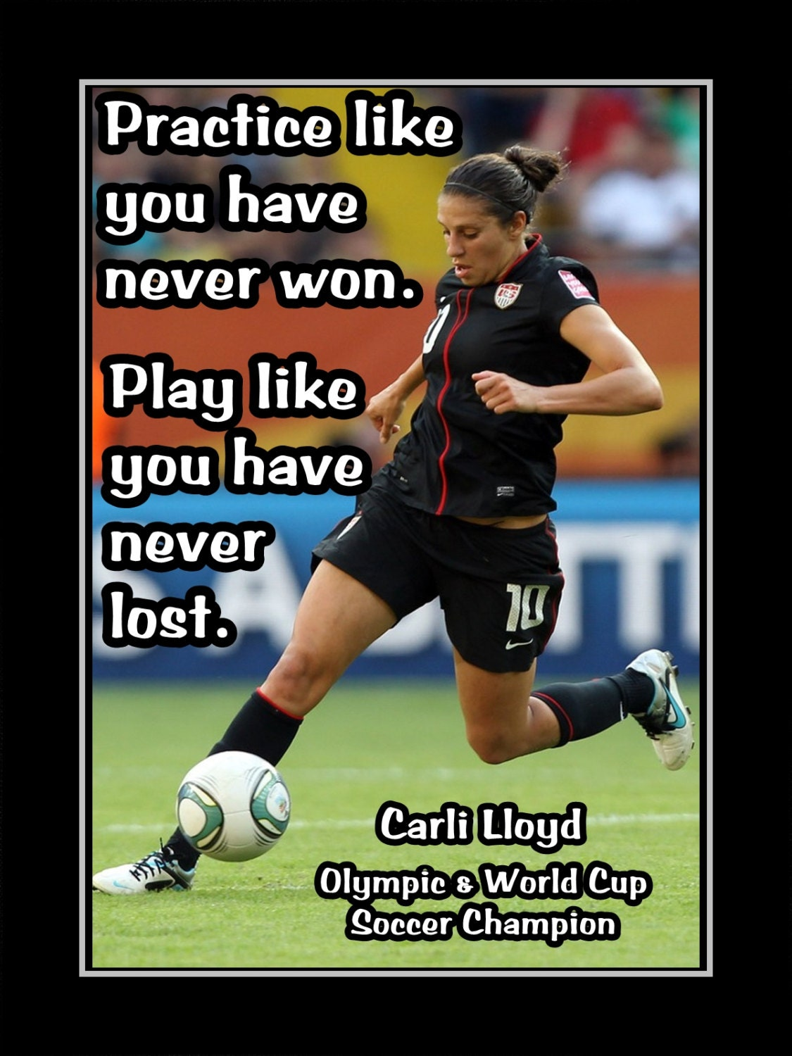 Soccer Motivation Quote Poster Gift Inspirational Wall Etsy