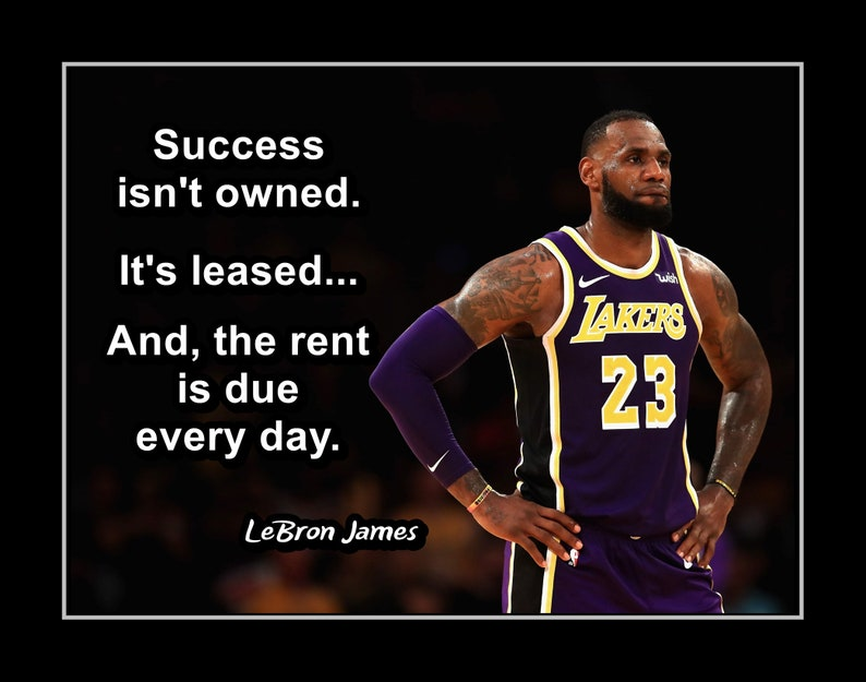 b47bc52dcd6 Inspirational Basketball Wall Art Lakers Fan Gift LeBron