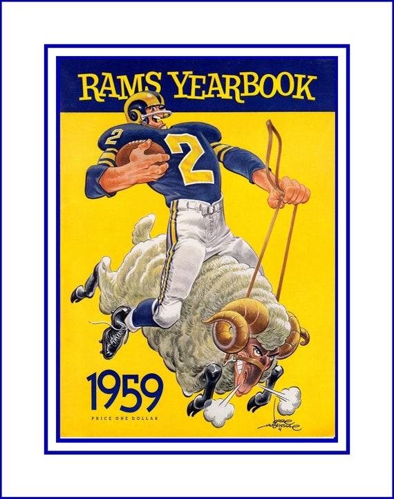 Vintage LA Rams Football Wall Art Retro 1950s Illustration