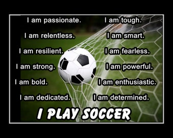 """Inspirational Soccer Pride Wall Art, Gift, Quote Photo Poster, Game Motivation Wall Decor, Art Print, Bedroom, Confidence, 8x10""""-11x14"""""""