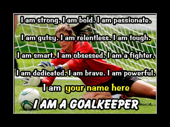 Inspirational Soccer Gift, Personalized Pride Poster, GOALKEEPER Photo  Quote Wall Art, Kids, Champion, Bedroom Hope Solo, 8x10\
