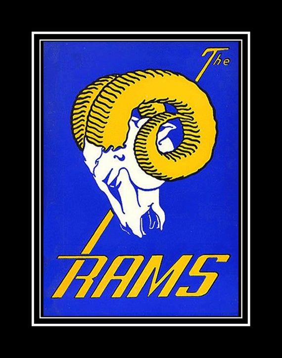 Retro LA Rams Football Logo Poster Football Fan Wall Art  c5695dd42