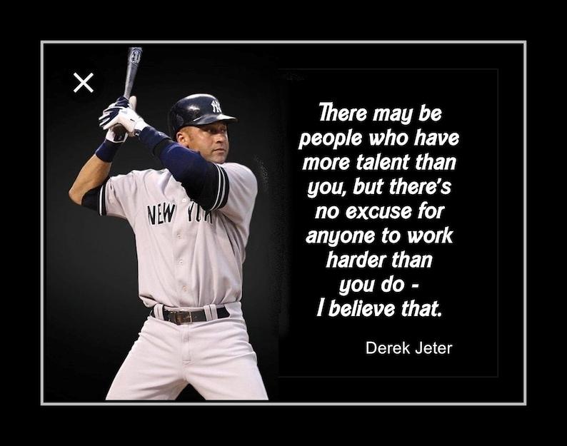 3cc80ea43 Baseball Inspirational Derek Jeter Quote Wall Art Best Friend | Etsy