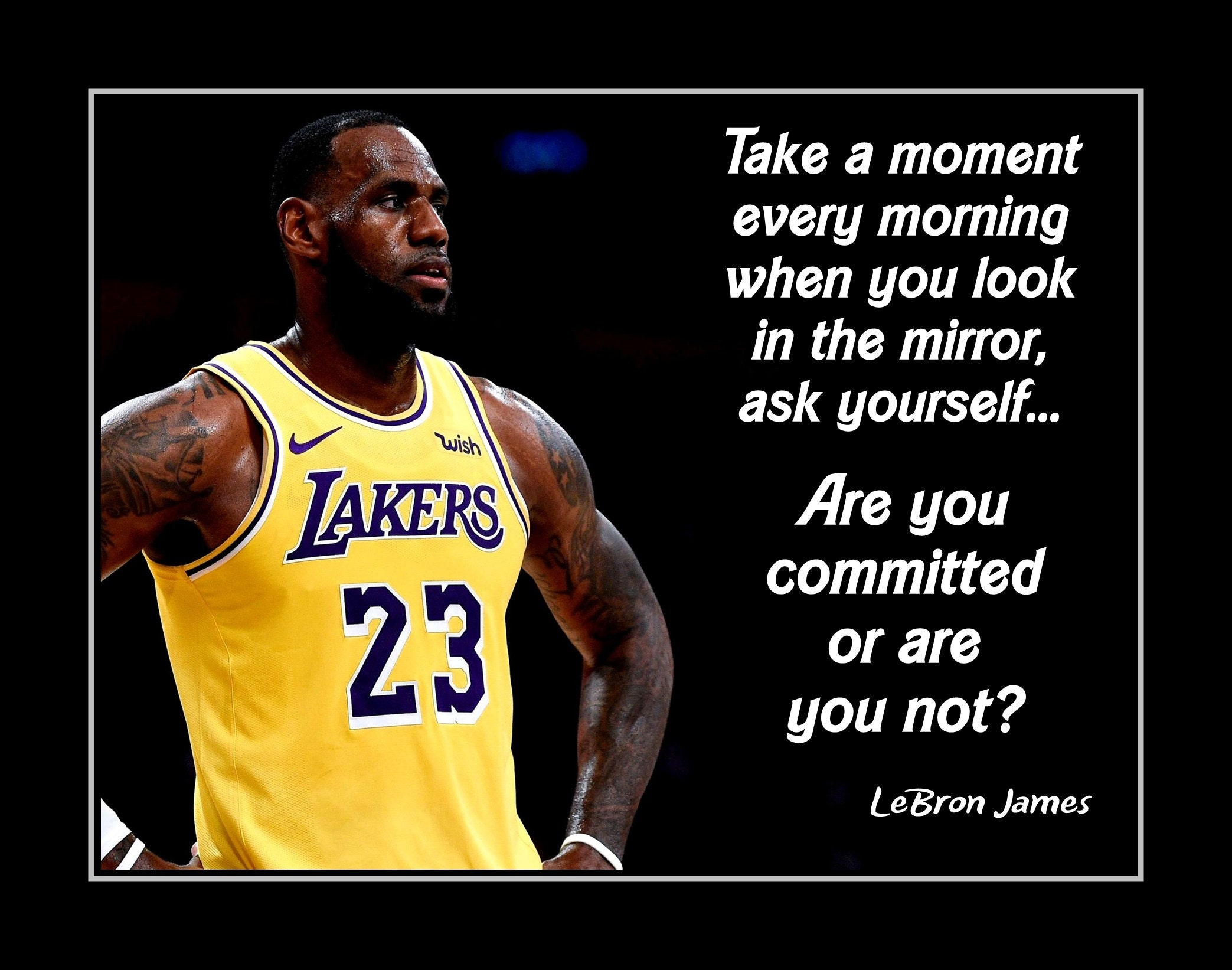 Inspirational Quotes Motivation: Inspirational LeBron James Basketball Quote Poster Lakers