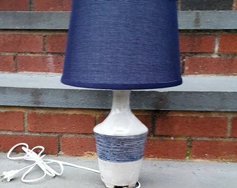 Handmade pottery table lamp accent lamp white/grey, navy blue incised horizontal lines @cd