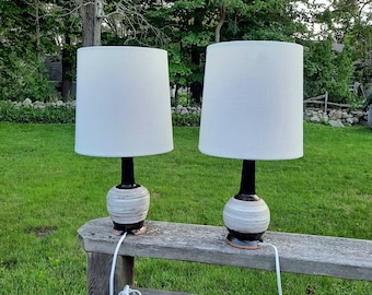 Pair of handmade pottery table lamps accent lamp brown and white