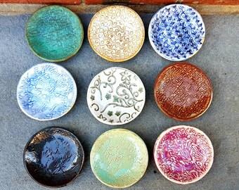"items ""J-R"" Small Pottery Dish, Small Dish, Multi Purpose Stoneware Dish, jewelry, soap, food prep, dipping, candle, tea bag"