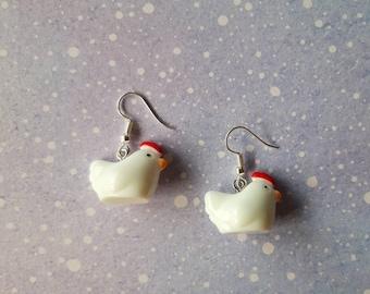 Chicken earrings. Unusual quirky cute funny kawaii earrings