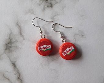 Babybel cheese earrings. Unusual quirky cute funny kawaii earrings
