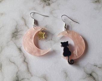 Cat and moon earrings. Unusual quirky cute funny kawaii earrings