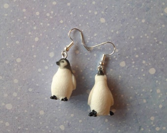 Penguin earrings. Unusual quirky cute funny kawaii earrings