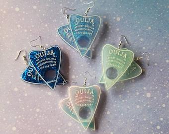 Ouija board earrings. Unusual quirky cute funny kawaii goth emo earrings.