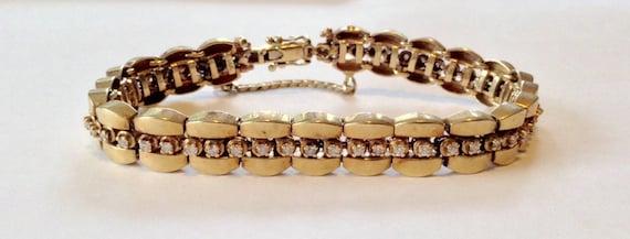 Diamond Tennis Bracelet - 14k Gold Bracelet - Vint