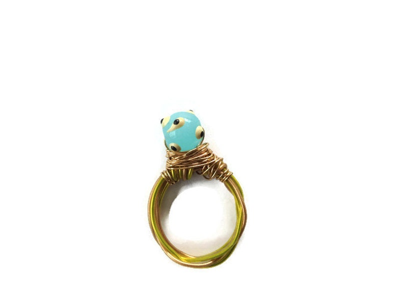 Blue twisted wire ring- Polka Dot Blue Ring Ring sz 5 12- Glass  Round Light Blue Ring Gift For Her Handmade Wire Ring- Gold Wire