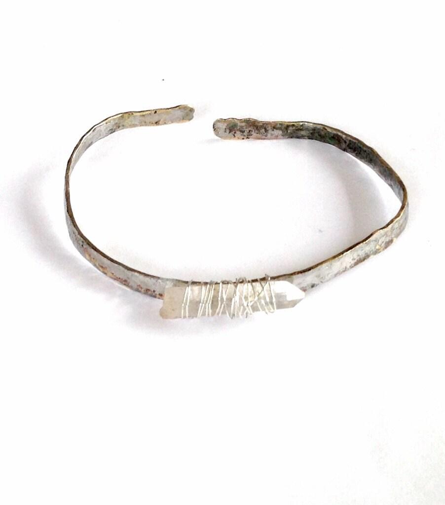 manchette de quartz bracelet cadeau f te des p res etsy. Black Bedroom Furniture Sets. Home Design Ideas