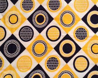 "Geometric yellow, black, lightweight 100 percent cotton, 44"" x 88"""