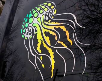 Color Shifting Vinyl Decal Jellyfish Sticker // Natural Crystal // Car Decal // Window Decal // Multiple Surface Decal