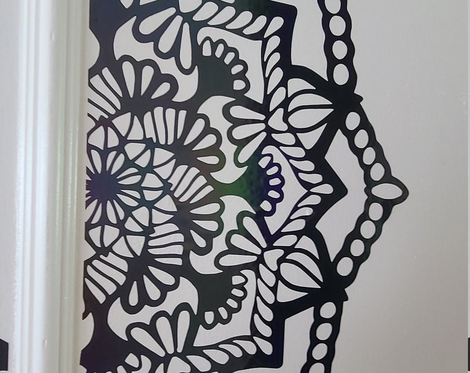 Half Mandal Floral // Wall Decor // Auto Decal // Extra Large // Holographic