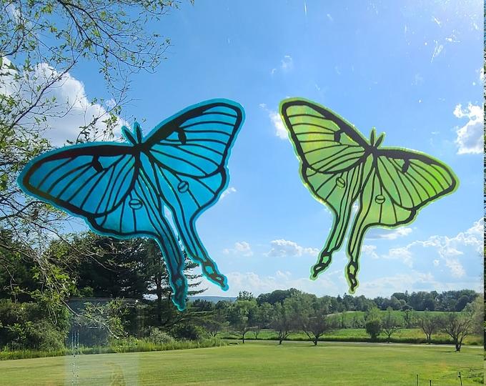 Translucent Lunar Moth Holographic Window Film Decal