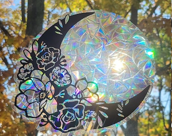 Floral Crescent Moon Glass Window Static Cling // Produces Rainbows // Easily Removed and will Restick // Rainbow Window Film