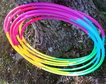 "Rainbow Six Piece Polypro Hula Hoop 3/4""or 5/8"" Collapsible for Travel- Push Pin Connection"