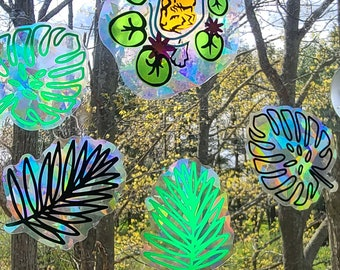 Tropical Leaves  // Rainbow Window Film // Cast Rainbows // Easily Removed and Will Restick