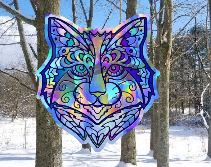 Forest Feline  Suncatcher // Cat // Rainbow Window Film // Cast Rainbows // Easily Removed and Will Restick // Kitten // Cat People