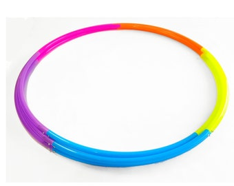 "Five Section UV High Gloss Radioactive Rainbow Polypro Hula Hoop 3/4""or 5/8"" Collapsible for Travel- Push Pin Connection"