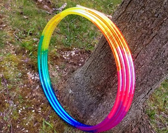 Eight Color Translucent Rainbow Taped Performance Polypro or HDPE Hula Hoop Hula Hoop or Minis 3/4 or 5/8 Comes With Clear Coat