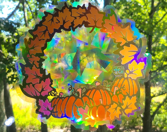 Fall Pumpkin Wreath Catcher // Rainbow Window Film // Cast Rainbows // Easily Removed and Will Restick