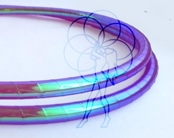 "Polypro Hula Hoop 3/4"" , 11/16"" or 5/8"" // Color Shifting Electric Jellyfish Taped // Collapsable for Travel with Push Pin Lock"