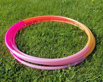 "Orange Sherbert Ombre 4 Piece Polypro Hula Hoop 3/4""or 5/8"" Collapsible for Travel- Push Pin Connection"