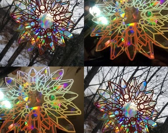 Crystal Wreath Sun Catcher // Raw Crystal Gems // Rainbow Window Film // Cast Rainbows // Easily Removed and Will Restick