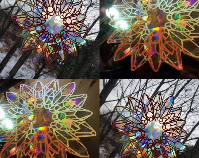 Crystal Wreath Sun Catcher // Raw Crystal Gem Decal // Rainbow Window Film // Cast Rainbows // Easily Removed and Will Restick