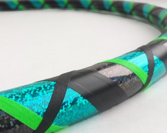 Teal and Black All Sizes Hula Hoop, Beginner//Polypro//Kid//Weighted//Exercise//Dance Hula Hoop // Customizable