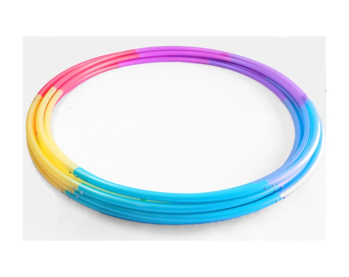 """Six Piece Pastel Rainbow Ombre Polypro Hula Hoop 3/4""""or 5/8"""" Collapsible for Travel- Push Pin Connection"""