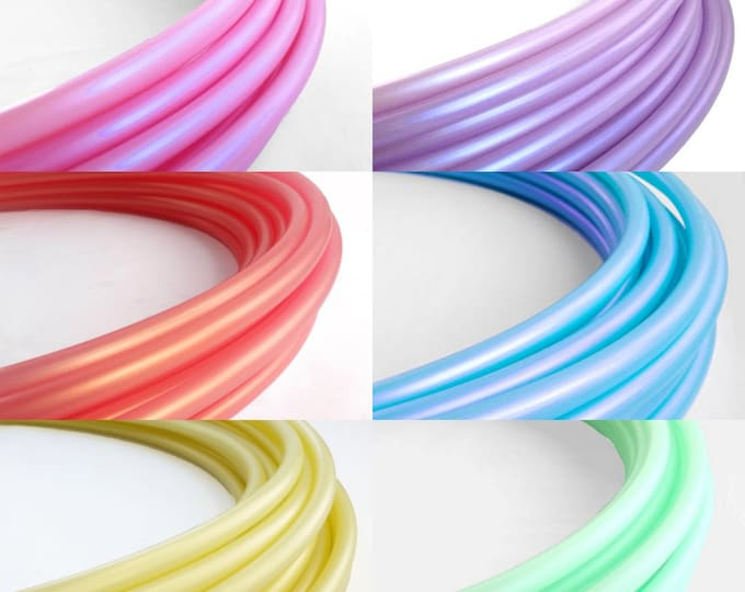 """Six Toned Pastel Rainbow Ombre Polypro Hula Hoop 3/4""""or 5/8"""" Collapsible for Travel- Push Pin Connection"""