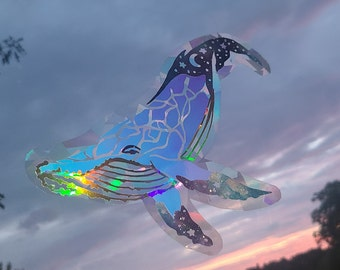 Celestial Whale Sun Catcher Window Sticker// Rainbow Window Film // Cast Rainbows // Will Remove and Will Restick if Lifted with Care