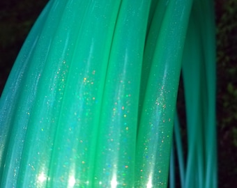 Mint GLITTER POLYPRO High Gloss Hula 5/8 inch // Collapsible Push Pin Connection // Light Weight//Dance Hoop