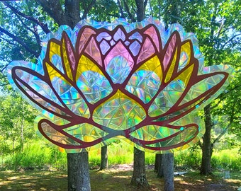 Sacred Lotus Sun Catcher Faux Stained Glass Window Cling // Produces Rainbows // Easily Removed and will Restick // Rainbow Window Film