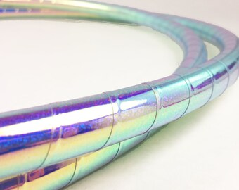 "Polypro Hula Hoop 3/4"" , 11/16"" or 5/8"" // Color Shifting Indigo Galaxy Taped // Collapsable for Travel with Push Pin Lock"