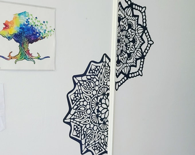 Half Mandal Paisly // Wall Decor // Auto Decal // Extra Large // Holographic