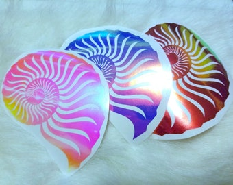 Color Shifting Vinyl Ammonite Sticker // Car Decal // Window Decal // Multiple Surface Decal
