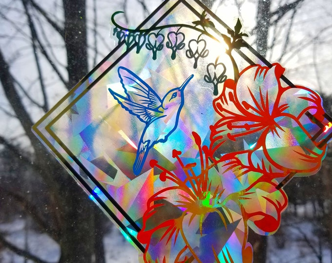 Hummingbird Sun Catcher // Rainbow Window Film // Cast Rainbows // Easily Removed and Will Restick