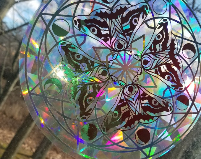 Lunar Phases Moth Sun Catcher // Mandala // Rainbow Window Film // Cast Rainbows // Easily Removed and Will Restick