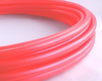 "POLYPRO HOOP: Uv Coral 5\8"" polypro hula hoop // Free Grip//Push Pin Collapsible// Light Weight// sizes 26""-36"""