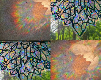 XL Crystal Arch Glass Window Static Cling // Produces Rainbows // Easily Removed and will Restick // Rainbow Window Film