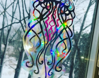 Jellyfish Sun Catcher // Mandala // Rainbow Window Film // Cast Rainbows // Easily Removed and Will Restick